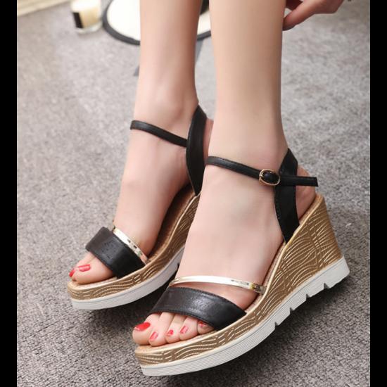 Black Color Summer Fashion Beige Gold High Sandals For Women image