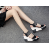 Black Color Comfortable High Wedge Sandals For Women image