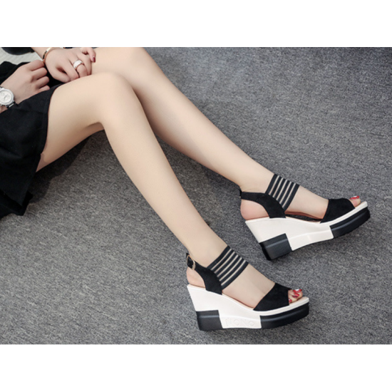 Comfortable High Heel Wedge Sandals For Women-Black image