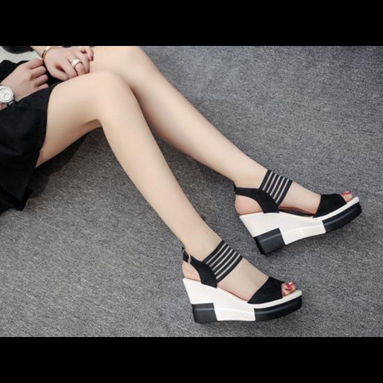 Comfortable High Heel Wedge Sandals For Women-Black image