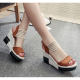 Comfortable High Heel Wedge Sandals For Women-Brown image