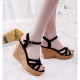 Black Color Fish Mouth Slope Thick Bottom Wedge Sandals For Women image