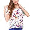 Womens Fashion Short Sleeves Bird Printing Round Neck Shirt image