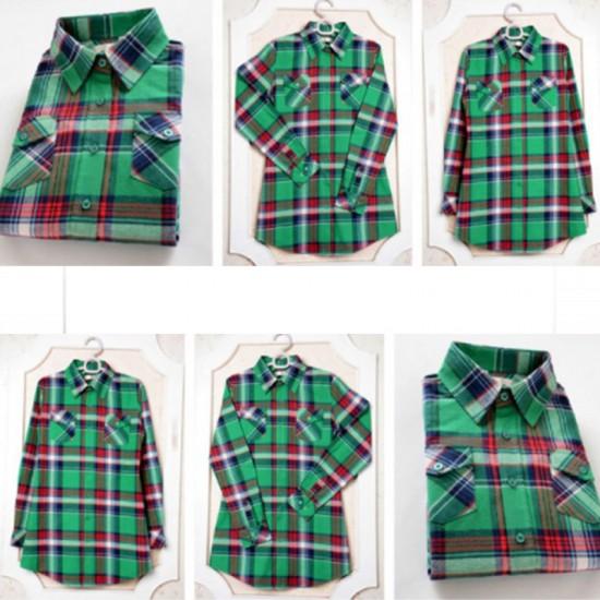 Women Long Paragraph Plaid Cotton Long Sleeve Casual Shirt-Green image