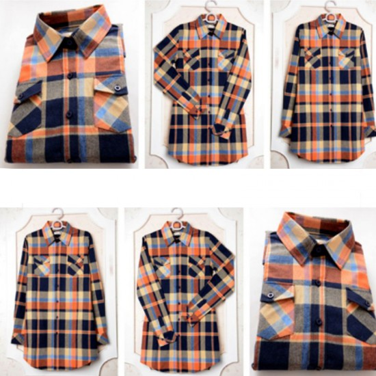 Women Long Paragraph Plaid Cotton Long Sleeve Casual Shirt-Brown image