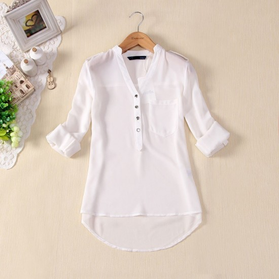 Elegant Long Sleeve Cotton Shirt for Women-White image