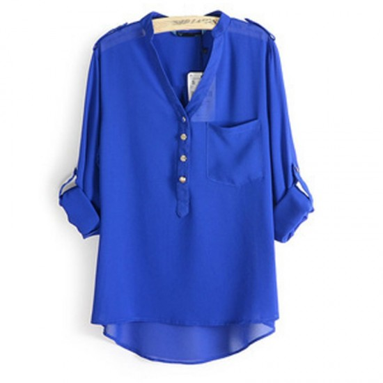 Elegant Long Sleeve Cotton Shirt for Women-Blue image
