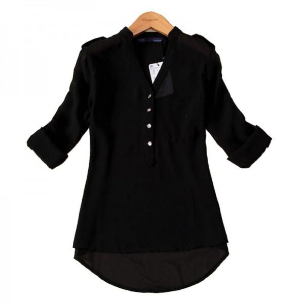 Elegant Long Sleeve Black Cotton Shirt for Women image