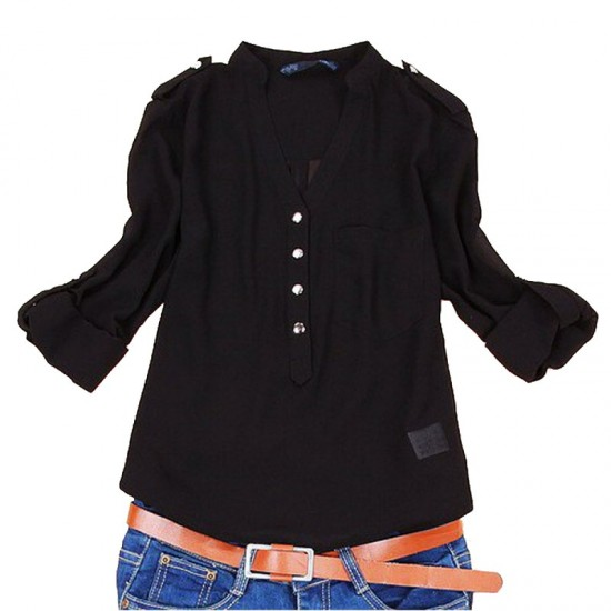 Elegant Long Sleeve Cotton Shirt for Women-Black image
