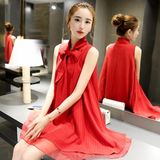 New European Fashion Pure Chiffon Short dress-Red image
