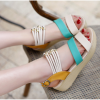 Green Color Beads Thick Sole Sandals For Women image