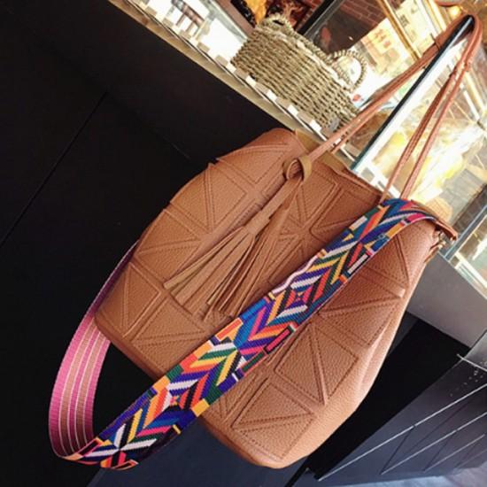Women Fashion Triangle Fight Water Bucket Handbag-Brown image