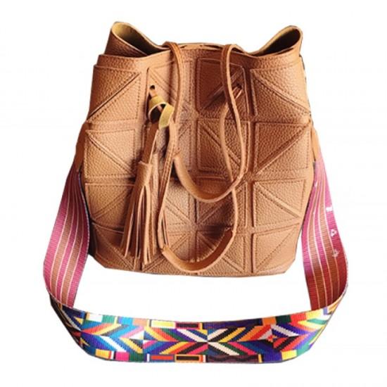 Women Fashion Triangle Fight Water Bucket Brown Color Handbag image