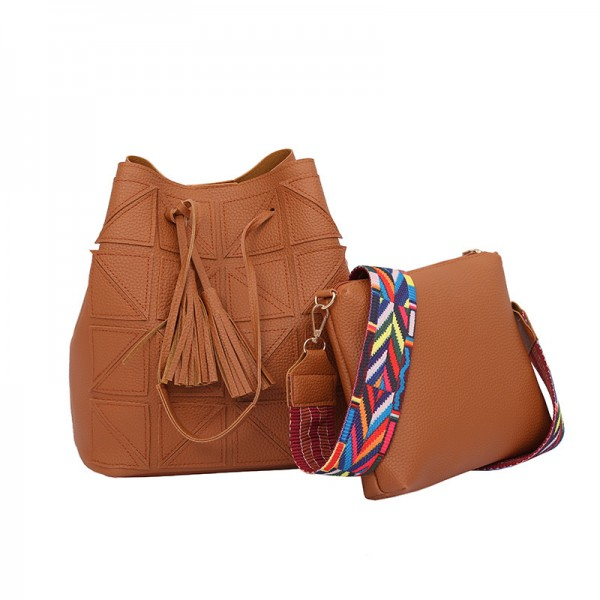 Women Fashion Triangle Fight Water Bucket Brown Color Handbag image