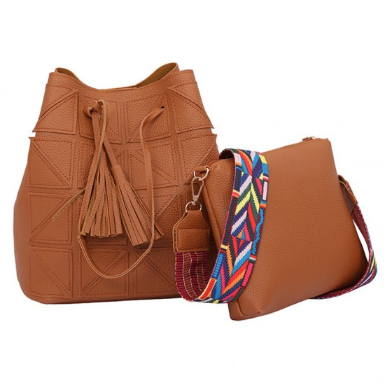 Women Fashion Triangle Fight Water Bucket Handbag-Brown image