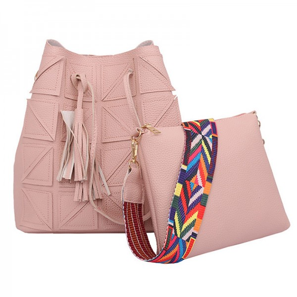 Women Fashion Triangle Fight Water Bucket Pink Color Handbag image