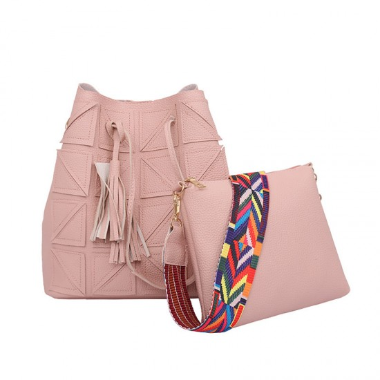 Women Fashion Triangle Fight Water Buckle Handbag-Pink image