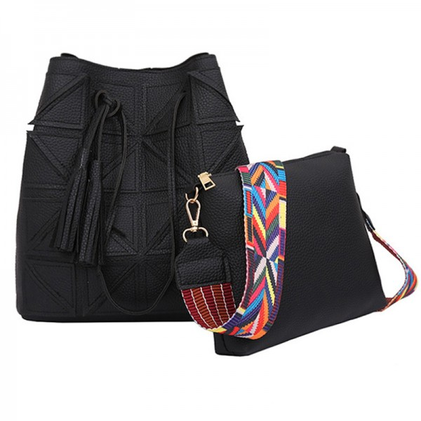 Women Fashion Triangle Fight Water Bucket Black Color Handbag image