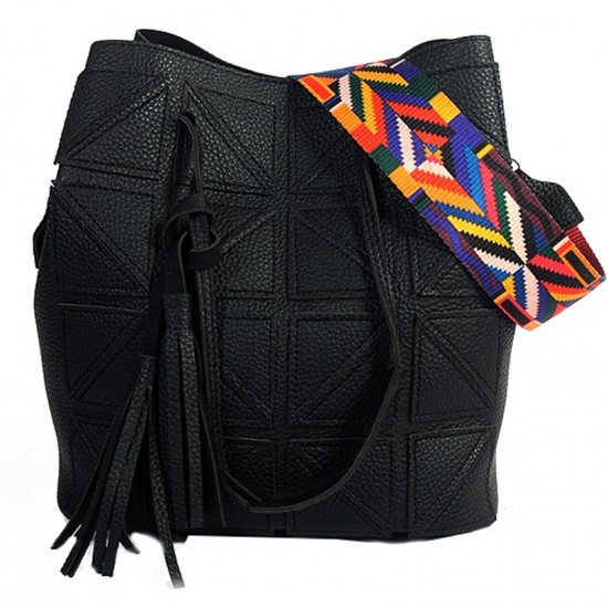 Women Fashion Triangle Fight Water Bucket Handbag-Black image