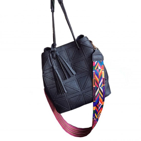 Women Fashion Triangle Fight Water Bucket Handbag-Black image