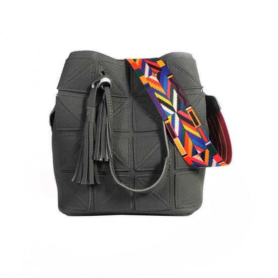 Women Fashion Triangle Fight Water Bucket Handbag-Grey image