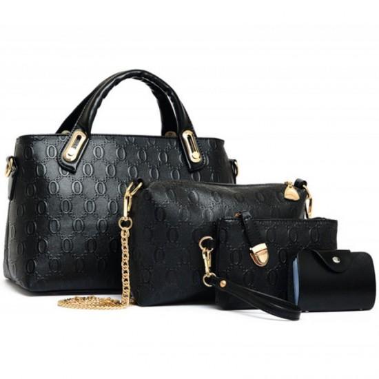Womens Black Color Four Piece Shoulder Hands & Key Bags Set image