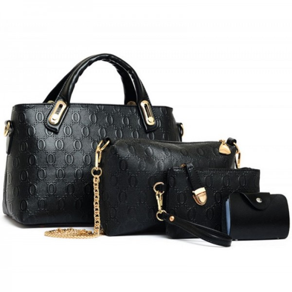 Womens Black Color Four Piece Shoulder Hands & Key Bags Set