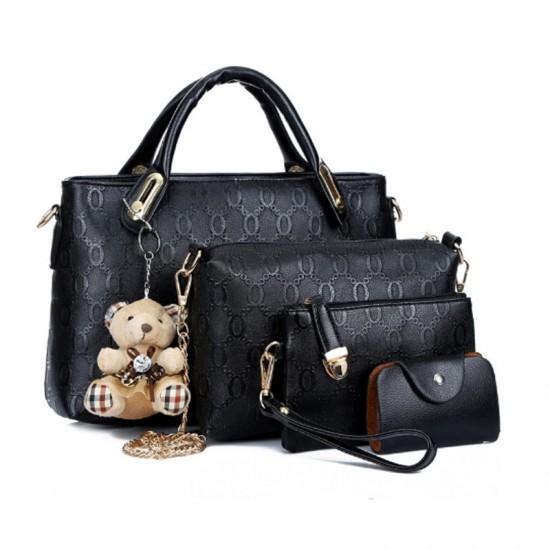Women's Four Piece Shoulder Hands & Key Bags Set-Black image