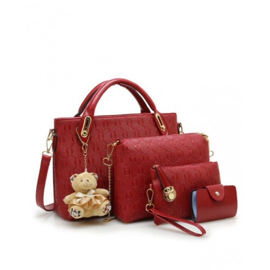 Women Four Piece Shoulder Hands & Key Bags Set-Red image