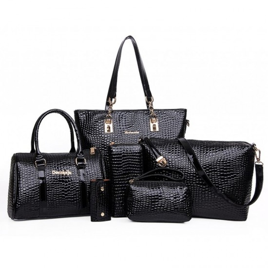 Worsely 6 Piece Crocodile Pattern Ladies Hand bags Set-Black image