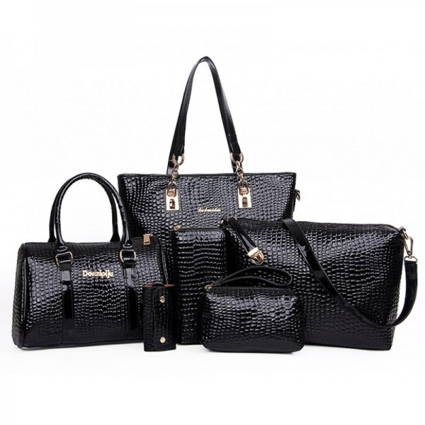 Worsely Black 6 Piece Crocodile Pattern Ladies Hand bags Set image