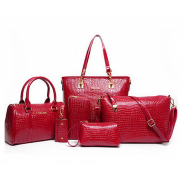 Worsely Red 6 Piece Crocodile Pattern Ladies Hand bags Set image