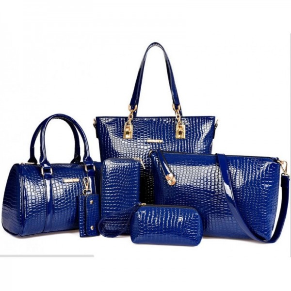 Worsely Blue 6 Piece Crocodile Pattern Ladies Hand bags Set image