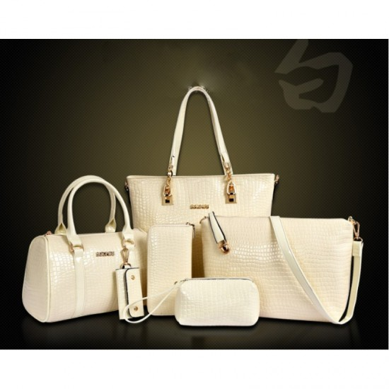 Worsely 6 Piece Crocodile Pattern Ladies Hand bags Set-Cream image