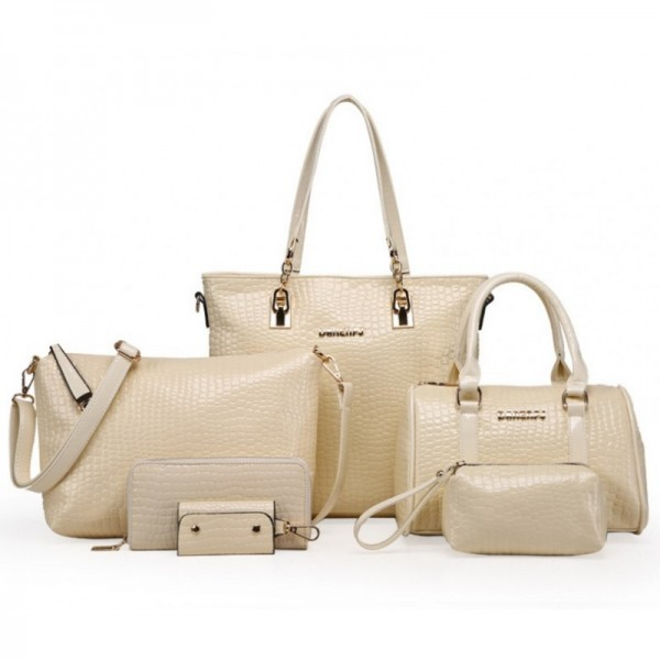 Worsely Cream 6 Piece Crocodile Pattern Ladies Hand bags Set image