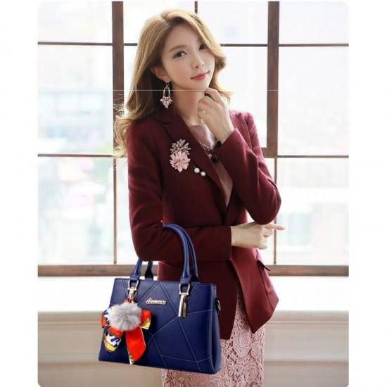 Women Fashion Large Korean Version Messenger Hand Bag-Blue image
