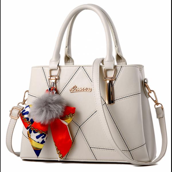Women Fashion Cream Large Korean Version Messenger Hand Bag image