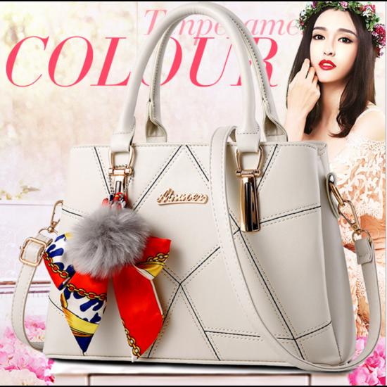 Women Fashion Large Korean Version Messenger Hand Bag-Cream image