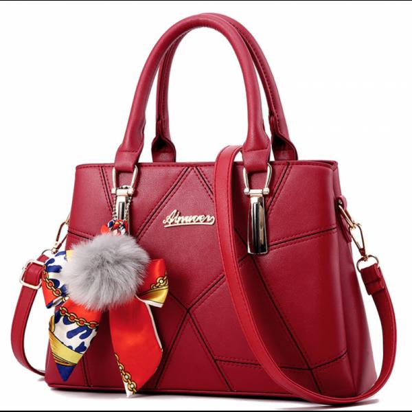 Women Fashion Red Large Korean Version Messenger Hand Bag image