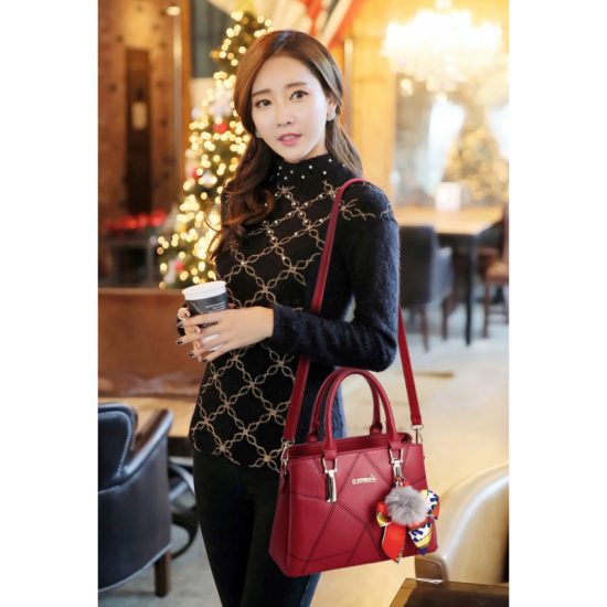 Women Fashion Large Korean Version Messenger Hand Bag-Red image