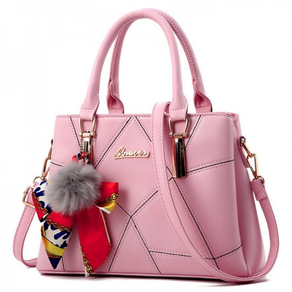 Women Fashion Pink Large Korean Version Messenger Hand Bag image