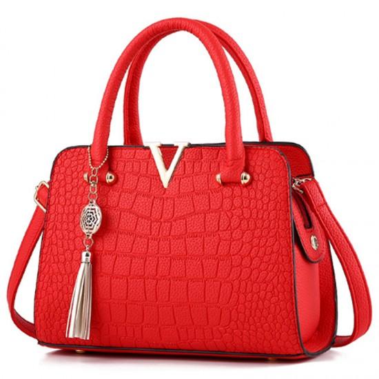 European Fashion Crocodile Pattern Women Handbag-Red image