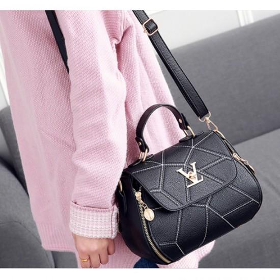 Women Fashion V Small Square Shape Handbag-Black image