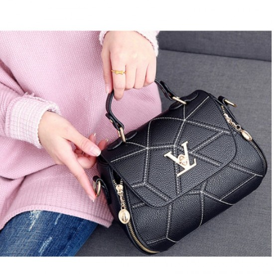 Women Fashion V Small Square Shape Black Color Handbag image