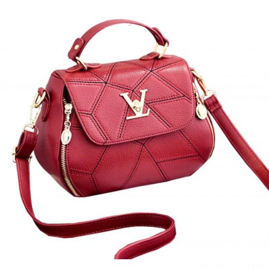 Women Fashion V Small Square Shape Handbag-Red image