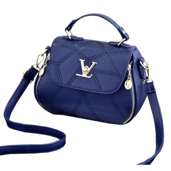 Women Fashion V Small Square Shape Handbag-Blue image