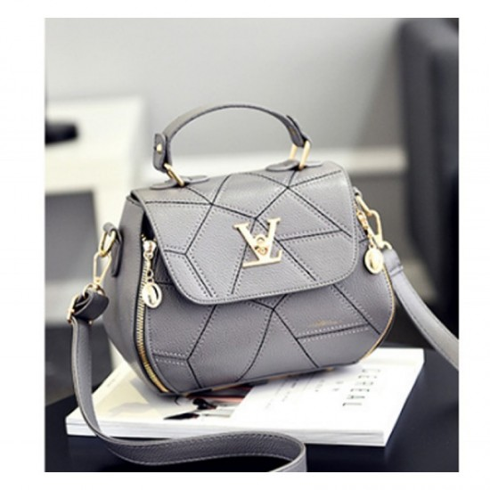 Women Fashion V Small Square Shape Handbag-Grey image