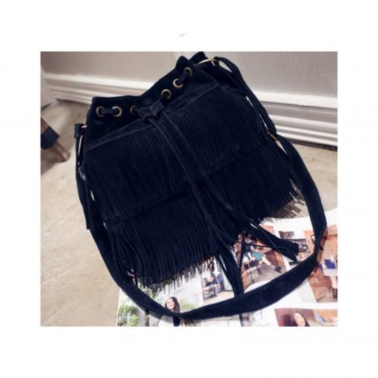 Women Fashion Square Shape Shoulder Handbag-Black image