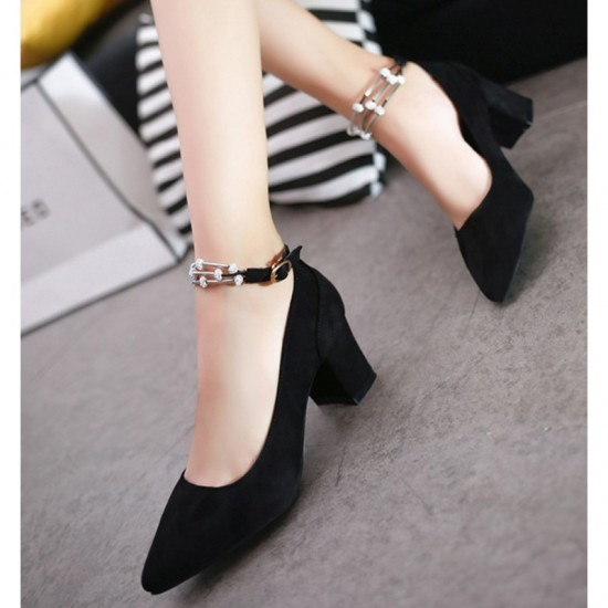 Diamond Studded Metal Pointed Heels For Women-Black image