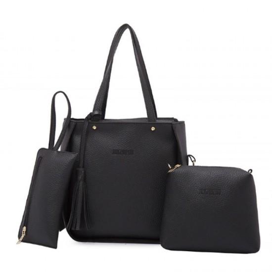 Women Fashion Elegant Three Piece Shoulder Handbag-Black image